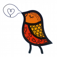 Stained Glass Singing Bird Window Decoration - Bright Colours