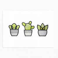 Three Little Cacti - Blank Note Card & Envelope