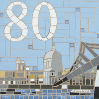Mosaic house number, sign, plaque; variety of sizes, St Paul's cathedral