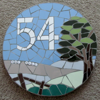 Mosaic house number sign plaque; variety of sizes, colours and designs available