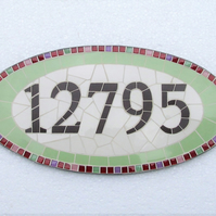Mosaic house number, made to order with lots of sizes, colours, themes available