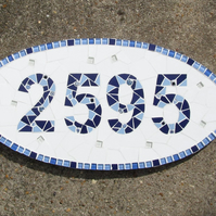 Mosaic house number, made to order,variety of sizes and colours available