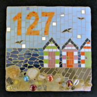 Mosaic house number sign, made to order,variety of sizes and designs available