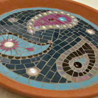Unique mosaic birdbath for the garden; approx. 30cm diameter; fully waterproofed