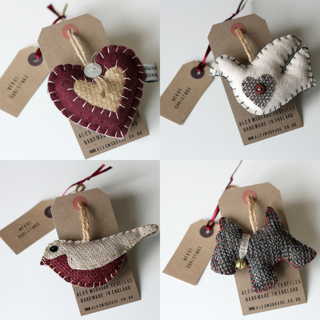 Christmas Decorations Set Of 4 Hand Embroidered...