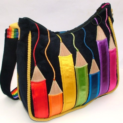 MULTI COLOURED RIBBON PENCIL BAG