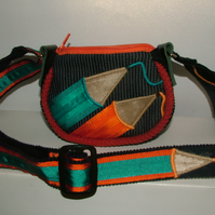 Orange & Turquoise Pencil purse with long adjustable strap