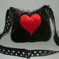 Grey and Red velvet heart handbag