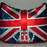 Ribbon Union Jack Handbag with sequin crown
