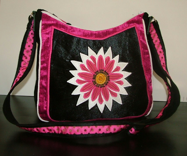 Black, Pink and White flower Handbag