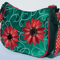 Turquoise satin Handbag with red flowers