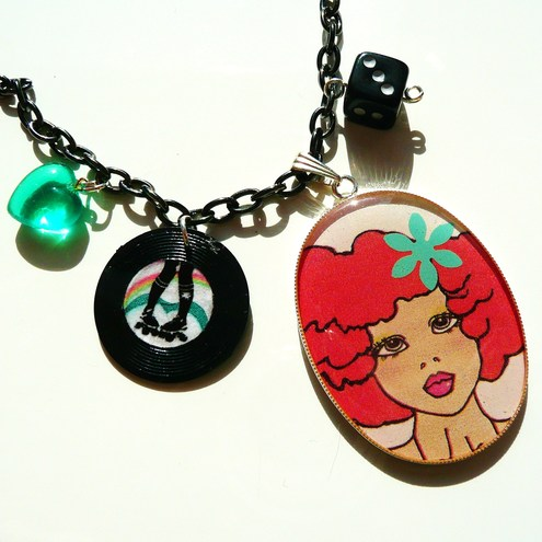Roller Derby Girl resin pendant