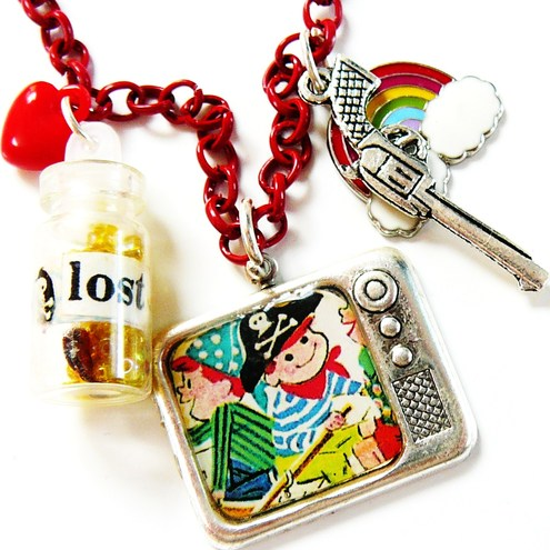 lost at sea retro pirate tv and glass bottle necklace