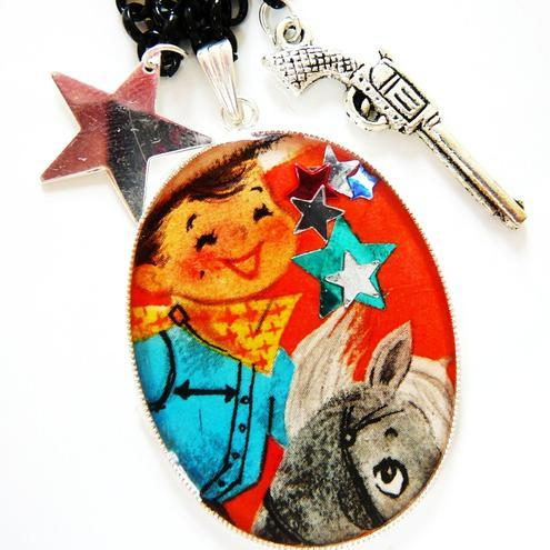 ride em cowboy vintage image cowboy large necklace