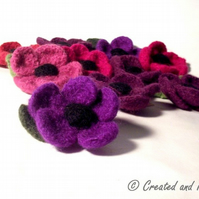 Violet Purple Flower Felt Brooch