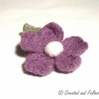 Purple Felt Flower Brooch
