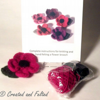 Pink Flower felt  knitting kit