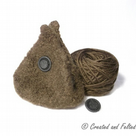 Brown  Felt pouch knitting kit