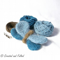 Blue Felt Butterfly Brooch knitting kit