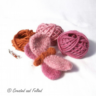 Pink Felt Butterfly Brooch knitting kit