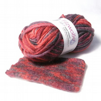 Red variegated Felting Wool Yarn blended wool knit and felt color 24