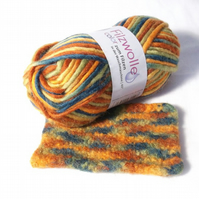 Orange Green multi Felting Wool Yarn blended wool knit and felt