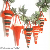 Felted  Christmas Sweetie Cone Tree Decoration pattern