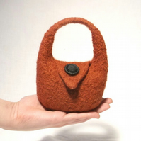Tiny Brown Felt Handbag