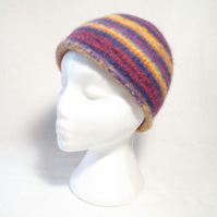 Stripey Felt Beanie Hat Knitting Pattern