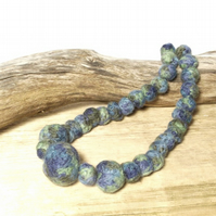 Green felt bead necklace