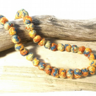 Multi colored felt bead necklace