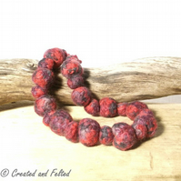 Red felt bead necklace