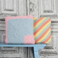 Candy coloured cushion knitting pattern