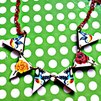 bunting necklace bluebirds and roses wooden