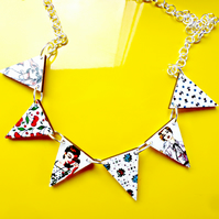 50s girls and vintage print bunting necklace made from wood