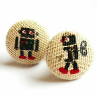 Retro wind up robots cufflinks 22mm