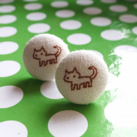 Tiny white cat stud earrings