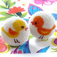 Orange and yellow cute tiny birds 11mm stud earrings