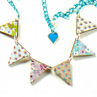 retro florals wooden bunting necklace