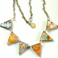 70s retro print wooden  bunting necklace