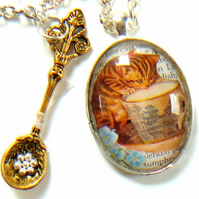 kitty tea time necklace
