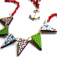 cherries anchors and polka dots wooden necklace bunting