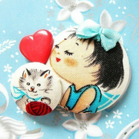 little sailor girl and kitty cat brooch