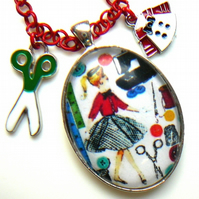 little miss sew and sew large sewing theme charm necklace