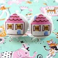little pink houses stud earrings