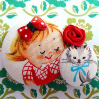 red hair girl and her kitty cat brooch