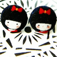 tiny Kokeshi girl stud earrings 12mm