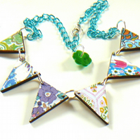 flower power wooden bunting necklace
