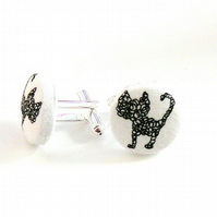 scribble cat black and white cuff links