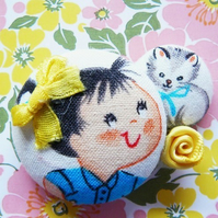 cute retro brunette girl and cat ribbon pin brooch